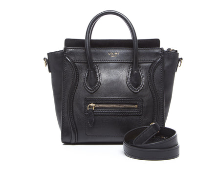 Celine Black Calfskin Smooth Leather Nano Luggage Bag