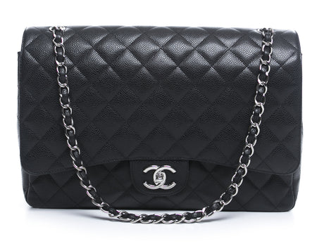 Chanel Black Caviar Maxi Double Flap Bag SHW