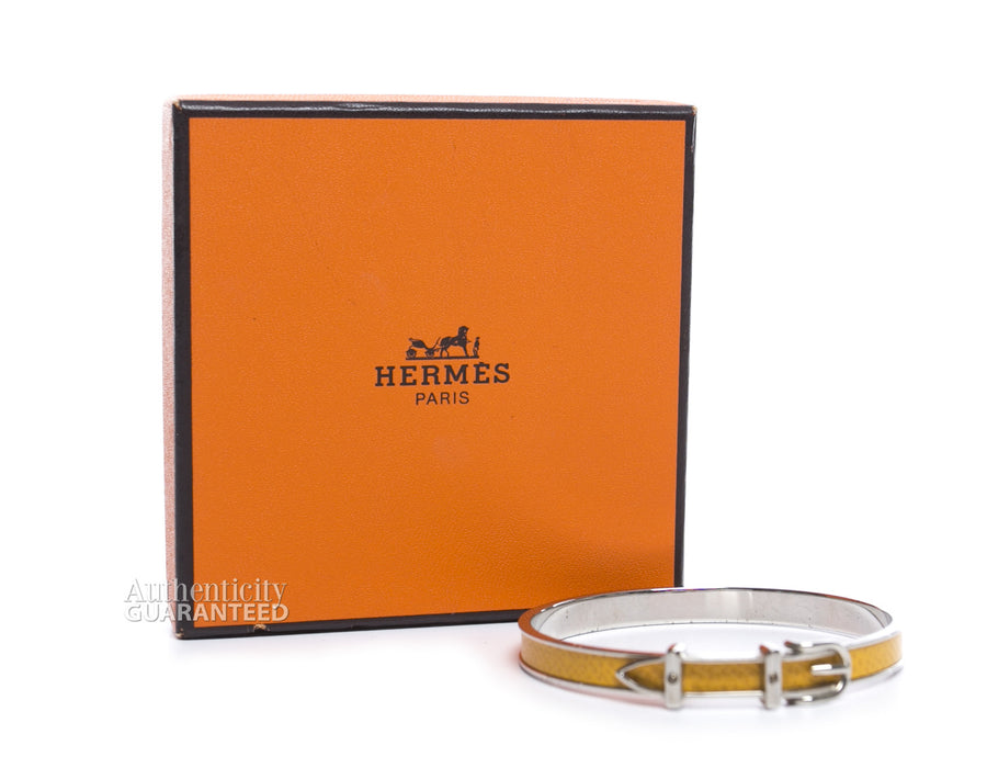 Hermes Lizard Embossed Leather Belt Bracelet