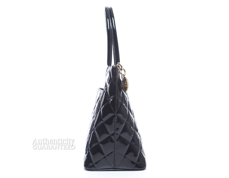 Chanel Black Patent Leather Medallion Tote Bag
