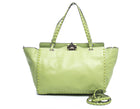 Valentino Green Leather Medium Rockstud Trapeze Bag