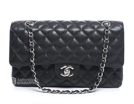 Chanel Black Caviar Medium Double Flap Bag SHW