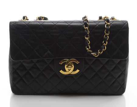 Chanel Black Lambskin Vintage Classic Maxi Flap GHW