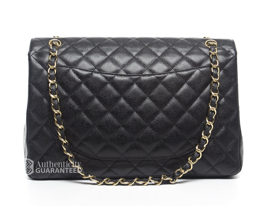 Chanel Black Caviar Maxi Double Flap Bag GHW