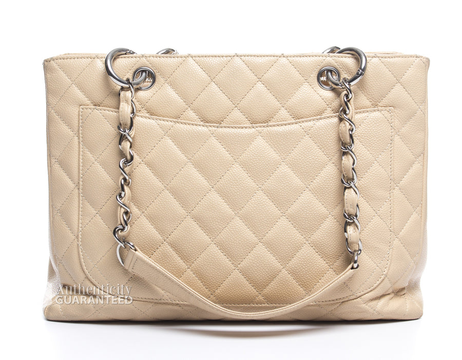 Chanel Beige Clair Caviar Grand Shopping Tote GST Bag