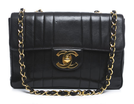 Chanel Black Lambskin Vintage Vertical Quilted Jumbo Flap GHW
