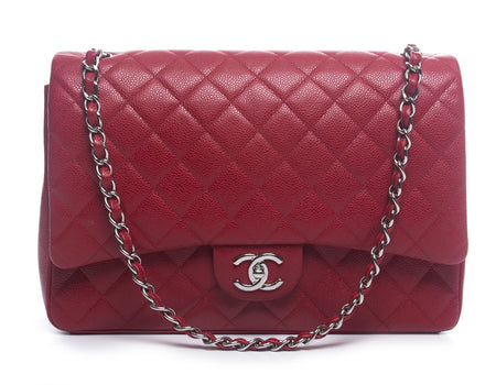 Chanel Red Caviar Maxi Double Flap Bag