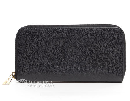 Chanel Black Caviar Classic Zippy Zip Around Wallet