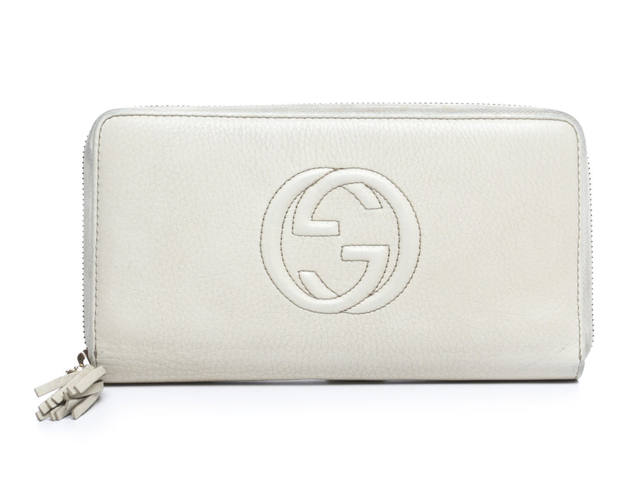 Gucci Ivory Leather Soho Zip Around Wallet