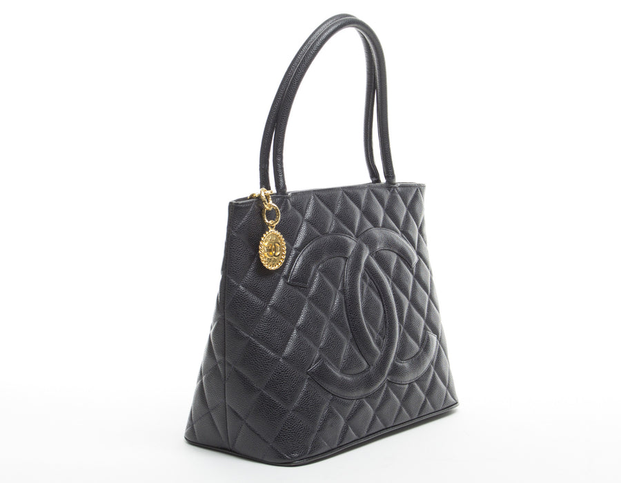 Chanel Black Caviar Classic Medallion Bag