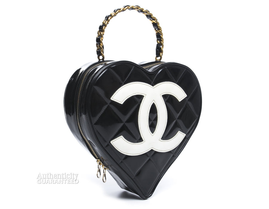 Chanel Vintage Patent Leather Heart Shaped Bag