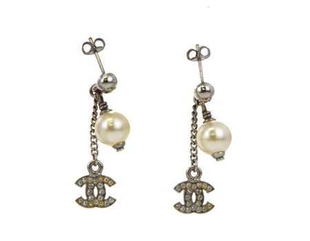 Chanel Silver Rhinestone CC and Pearl Drop Earrings
