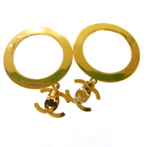 Chanel Gold  CC Hoop Clip-On Earrings