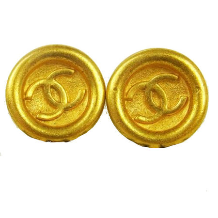 Chanel Gold CC Button Clip-On Earrings