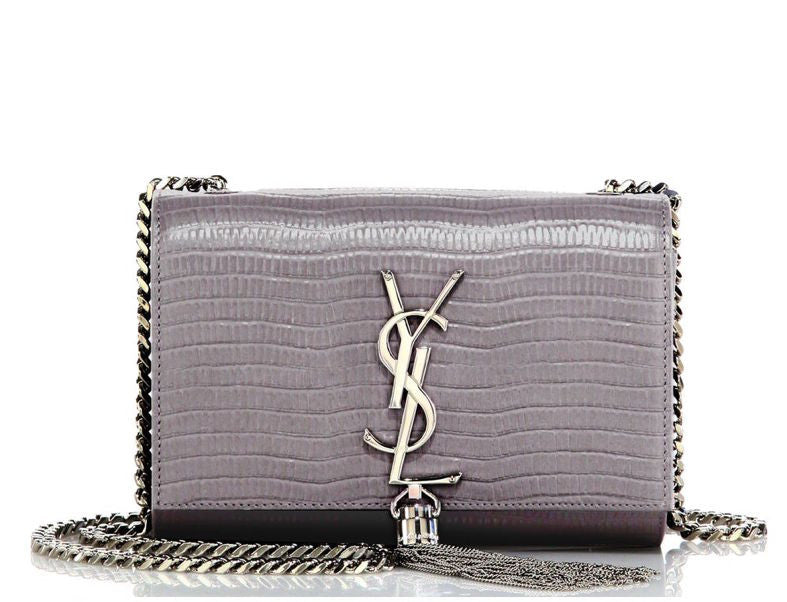 Saint Laurent Lizard Embossed Small Grey Monogram Tassel Crossbody Bag
