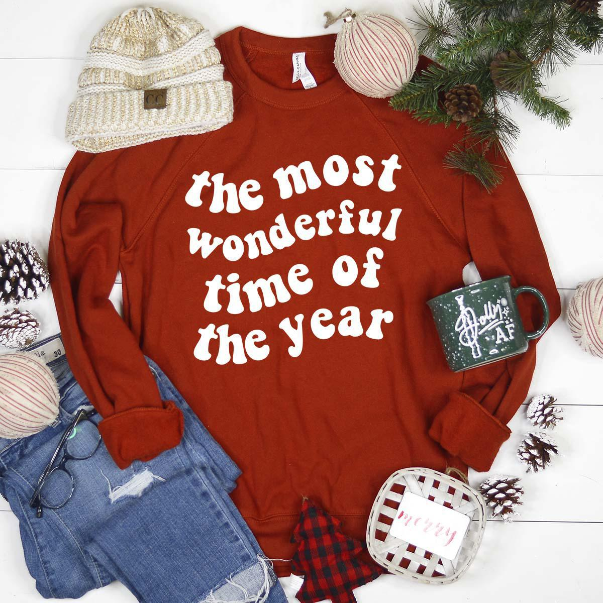The Most Wonderful Time of the Year Red Sweatshirt, Christmas Sweatshirt