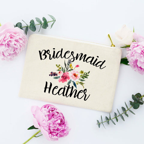 Floral Bridesmaid Cosmetic Bag