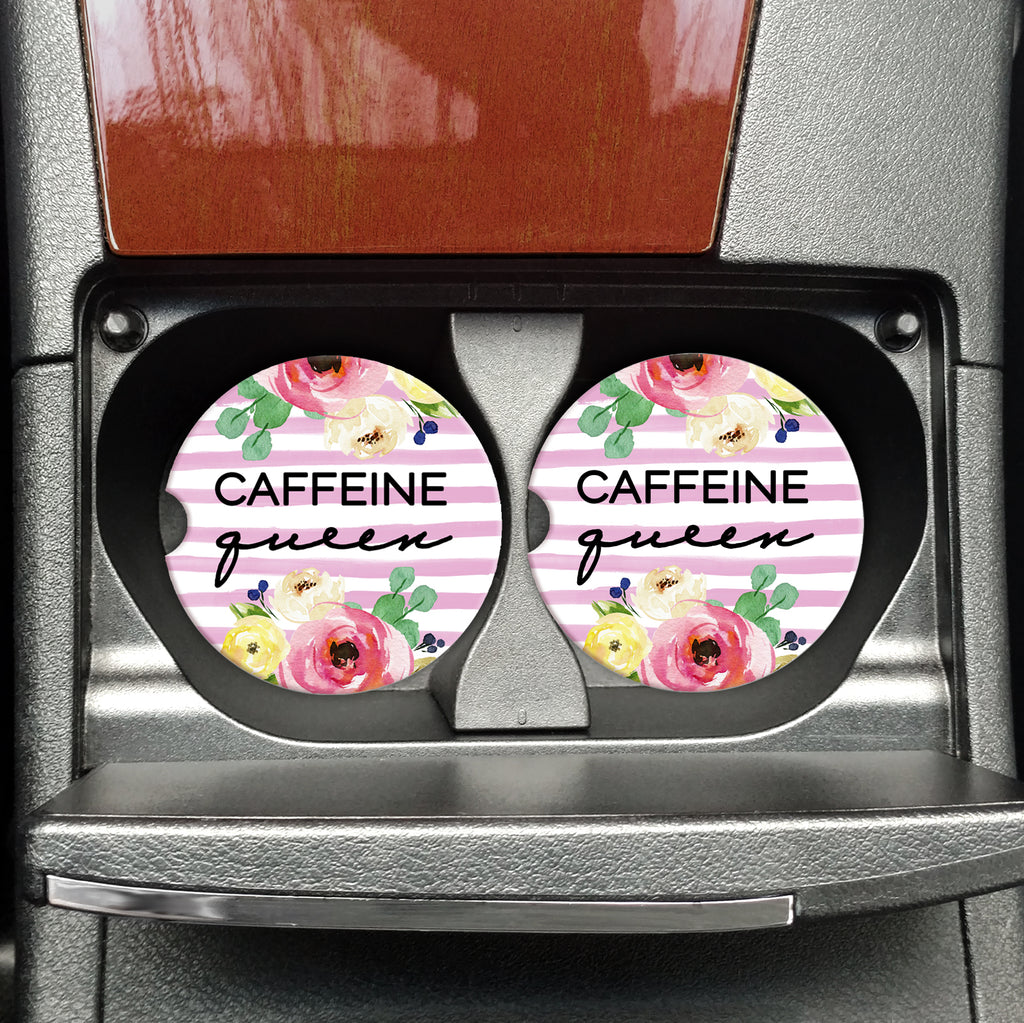 Caffeine Queen - Coasters for your Vehicle - Sandstone Travel Coasters - Coasters on the Go