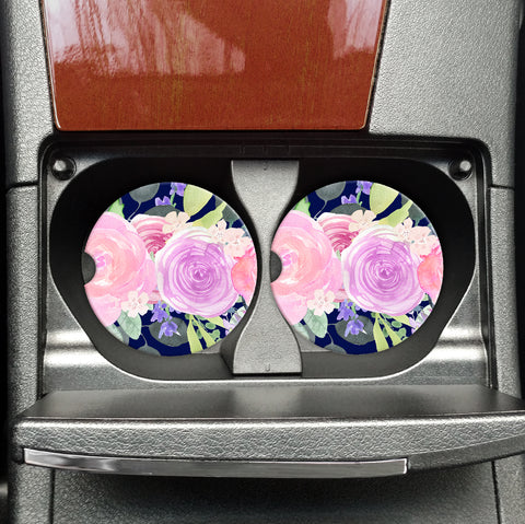 Jewel Tone Florals - Sandstone Travel Coasters - Vehicle Travel Coasters - Coasters on the Go, Pretty Florals, Car Accessories