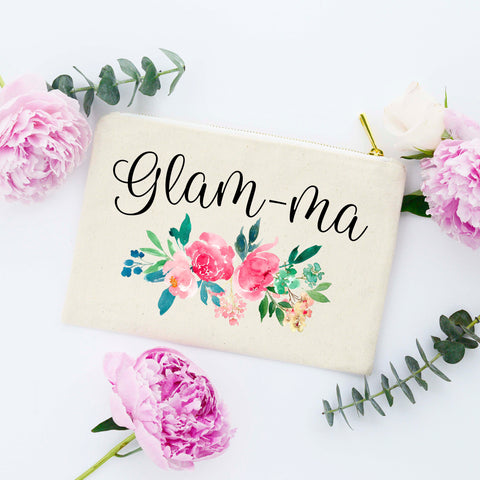 Glam-ma Gift Cosmetic Bag, Glamma Gift, Gift for Glamma, Glamma Bag, Glamma Makeup Bag, Glamma Cosmetic Bag