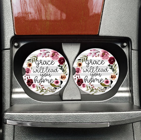 Grace Will Lead you Home - Motivational Car Travel Coasters - Vehicle Coasters - Coasters on the Go