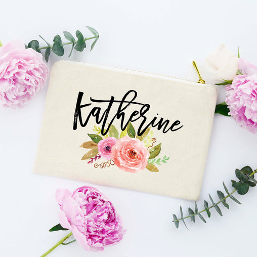 Floral Bridesmaid Makeup Bag, Personalized Makeup Bag, Personalized Cosmetic Bag, Bridal Party Gifts, Personalized Bridal Party Gifts