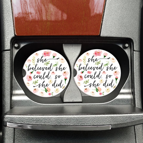 She Believed She Could, So She Did - Inspirational Coasters for your Car - Coasters on the Go
