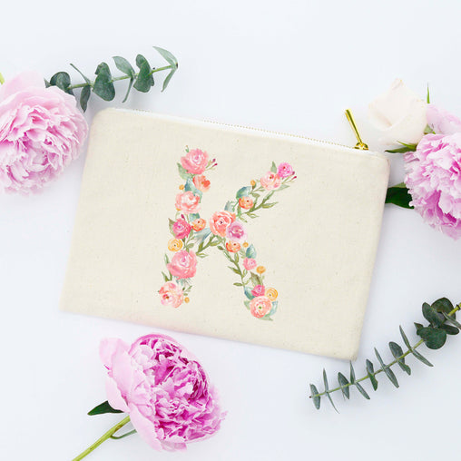 Floral Monogram Makeup Bag, Monogram Makeup Bag, Pink Letter Cosmetic Bag, Floral Letter, Floral Monogram Bag