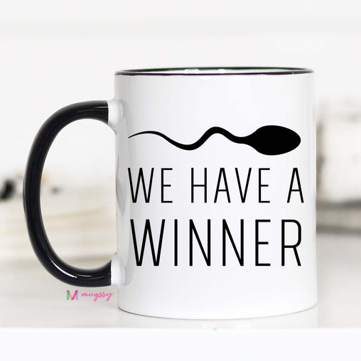 we have a winner mug