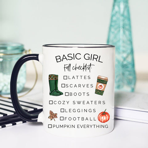 Basic Girl Fall Checklist, Basic Bitch, Funny Fall mug