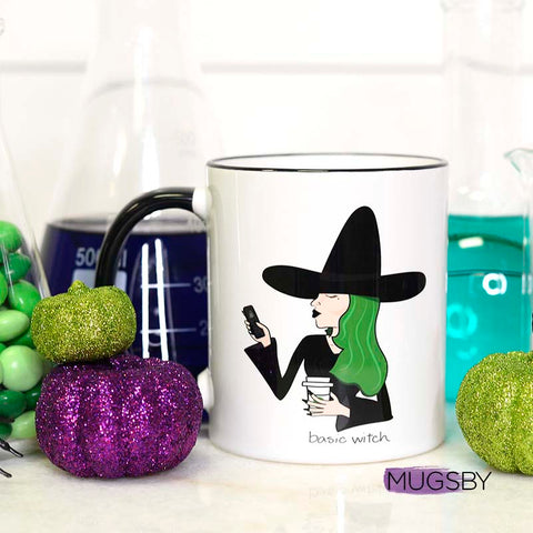 Basic Basic Witch, Coffee and phone Basic Witch Mug, Funny Halloween Mug