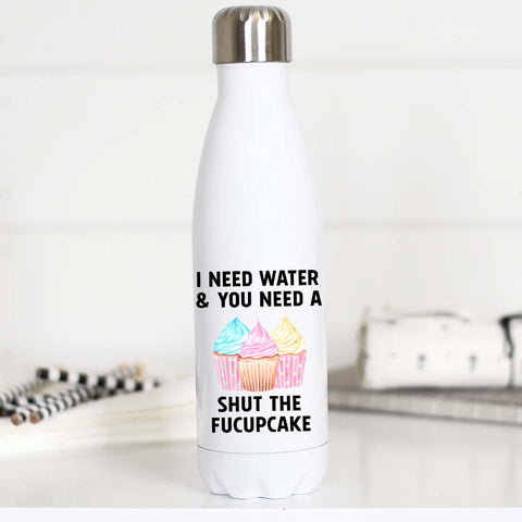 Shut the fucupcakes, Stainless Steel Water Bottle, WB