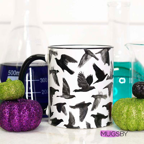 Raven Full Wrap Mug, Halloween Mug, Bird Mug