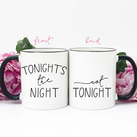 Tonight's the Night Not Tonight Mug, Valentine's Mug, Mug for Husband, Mug for Wife