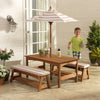 Outdoor Table & Bench Set With Cushions & Umbrella, , KidKraft, Little Toy Lane - Little Toy Lane