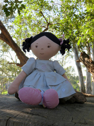 Maliah Black Haired Doll With Linen Dress, Cloth Doll, Bonikka, Little Toy Lane - Little Toy Lane