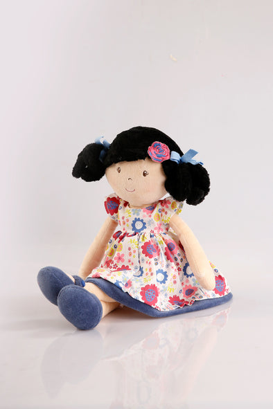 Flower Kid with Black Hair, Cloth Doll, Bonikka, Little Toy Lane - Little Toy Lane