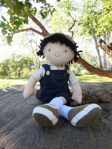James with Blue overalls and Grey Hat, Cloth Doll, Bonikka, Little Toy Lane - Little Toy Lane