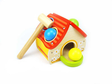 WOODEN HOUSE POUNDING GAME, Learn & Expore, Eleganter, Little Toy Lane - Little Toy Lane