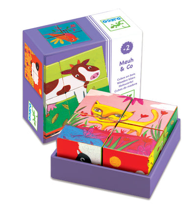 4 Cube Wooden Farm Meuh, Puzzles, Djeco, Little Toy Lane - Little Toy Lane