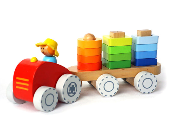Farm Tractor with Stacking Shape, Learn & Explore, Eleganter, Little Toy Lane - Little Toy Lane