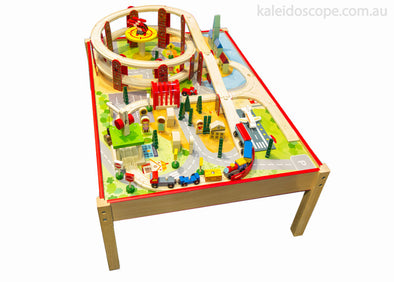 Town Train Set And Table 104 pcs, Learn & Explore, Kaleidoscope, Little Toy Lane - Little Toy Lane