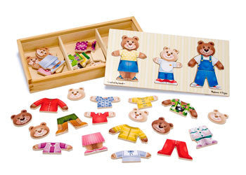Melissa & Doug – Wooden Bear Family Dress Up – 45pc, Puzzles, Melissa & Doug, Little Toy Lane - Little Toy Lane