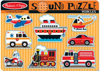 Melissa & Doug – Vehicles Sound Puzzle – 8pc, Puzzles, Melissa & Doug, Little Toy Lane - Little Toy Lane