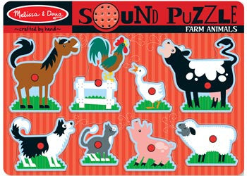 Melissa & Doug – Farm Animals Sound Puzzle – 8pc, Puzzles, Melissa & Doug, Little Toy Lane - Little Toy Lane