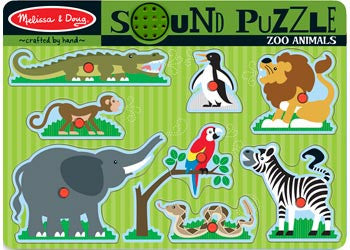 Melissa & Doug – Zoo Animals Sound Puzzle – 8pc, Puzzles, Melissa & Doug, Little Toy Lane - Little Toy Lane
