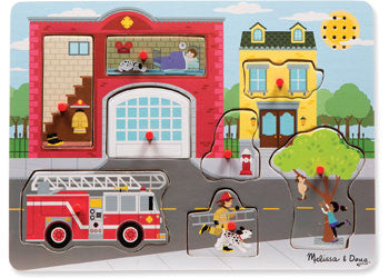 Melissa & Doug- Fire Station Sound Puzzle - 8pc, Puzzles, Melissa & Doug, Little Toy Lane - Little Toy Lane
