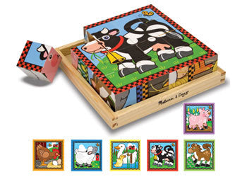 Melissa & Doug- Farm Cube Puzzle - 16pc, Puzzles, Melissa & Doug, Little Toy Lane - Little Toy Lane