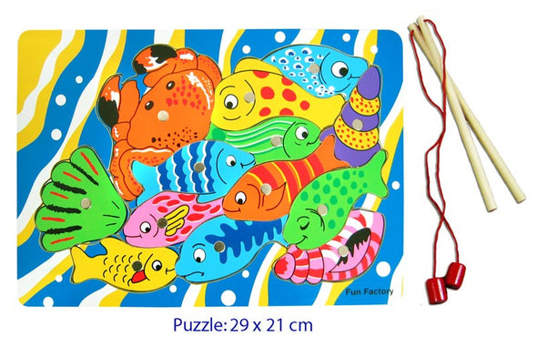 Fishing puzzle with magnetic rod, Puzzles, Fun Factory, Little Toy Lane - Little Toy Lane