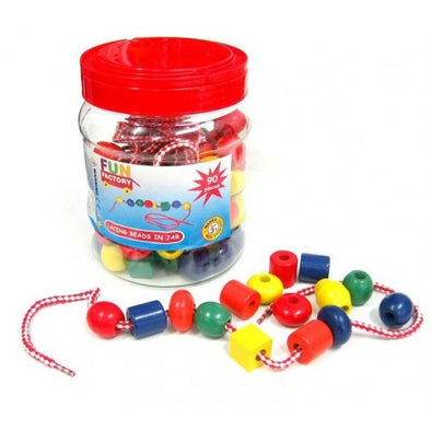 Lacing Beads in Jar, Learn & Explore, Fun Factory, Little Toy Lane - Little Toy Lane